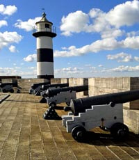 Canons on the ramparts of Southsea Castle.