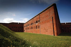 Photo of the outer defensive wall and ditch at Fort Nelson, Portsmouth