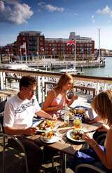 Restaurants and bars at Gunwharf Quays in Portsmouth.