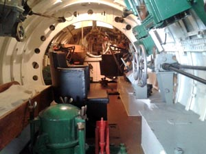 Internal view of HMS X24 at the Royal Navy Submarine Museum