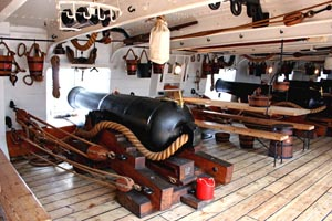 View of the gun deck and canons of Warrior. The ship was restored in 1979 at Hartlepool.
