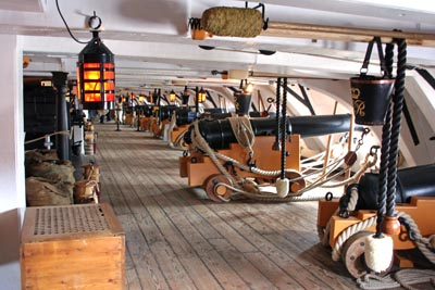 The gun deck of HMS Victory