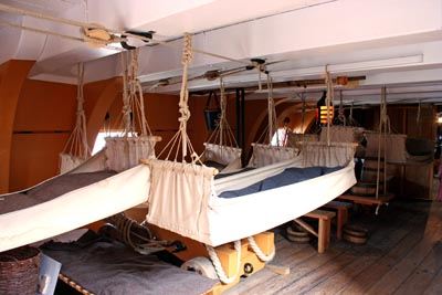 The sleeping quarters on HMS Victory