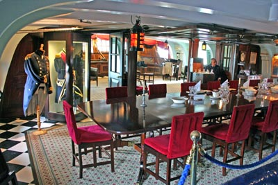 Officers mess on board HMS Victory at Portsmouth