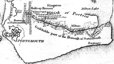 An early map of the Portsmouth section of the canal