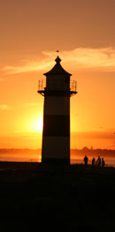 Southsea castle lighthouse at sunset.