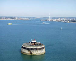 Spitbank Fort at the entrance to Portsmouth Harbour.