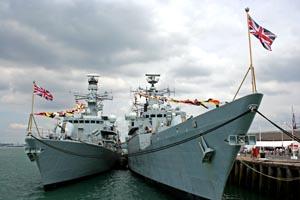 Royal Navy warships at Portsmouth Dockyard