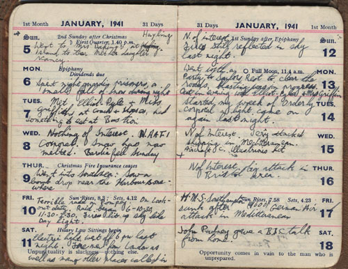1941 diary entries of John Welch - Portsmouth Blitz