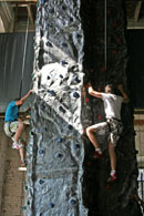 Photo of the climbing wall at Action Stations, Portsmouth Dockyard.