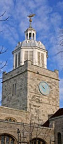 Photo of the clock tower of Portsmouth Cathedral.