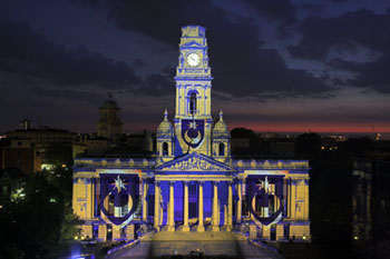 Portsmouth Guildhall Projection carried out by ETC UK Ltd www.projecting.co.uk