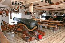 Photo of HMS Warrior at Portsmouth Historic Dockyard.