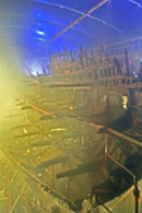 Photo of the Mary Rose preservation spraying process, Portsmouth Historic Dockyard.