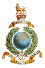 The Royal Marines Globe and Laurel cap badge.