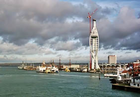 Photo of the Spinnaker Tower, under construction. Spinnaker Tower information.