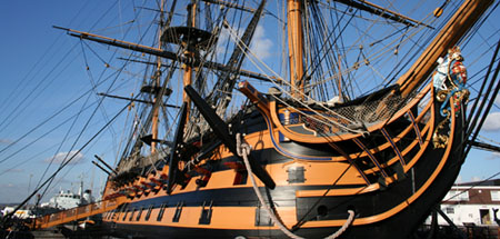 Photo of HMS Victory at Portsmouth Historic Dockyard.